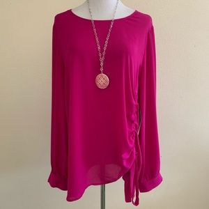Halogen Nordstrom Blouse Bright Plum Side Cinch